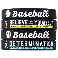 (4 件装)棒球硅胶手链 励志运动引言 - 4 件套 鼓舞人心的硅胶手腕带 - 男女皆宜的棒球礼物首饰配饰适合男孩女孩男士女士