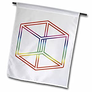 houk 数码设计标志符–escher S Impossible Cube 发光在白色背景–旗帜 12 x 18 inch Garden Flag