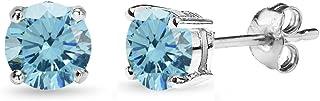 纯银 5mm 圆形爪镶耳钉采用施华洛世奇水晶设计