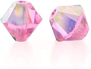 Swarovski Elements 5301 Bicone Diamond Beads, Aurora Borealis, Rose, 6-mm, 12/Pack