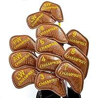 香槟色鳄鱼纹高尔夫铁头套 12 件套。聚氨酯皮革高尔夫铁头套套装头罩适合所有品牌的标题、Callaway、Ping、Taylormade、Cobra 等。