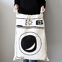 Yoki Home 抽绳式旅行收纳袋 束口袋 (2个不同混装) 2个装 超大号帆布玩具收纳袋 衣物整理袋 房间整理帆布袋