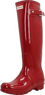 Hunter 女式 bota 原装高光泽及踝靴 红色 37 EU