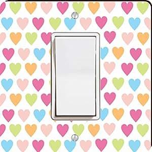 Rikki Knight Pastel Candy Hearts Single Rocker Light Switch Plate