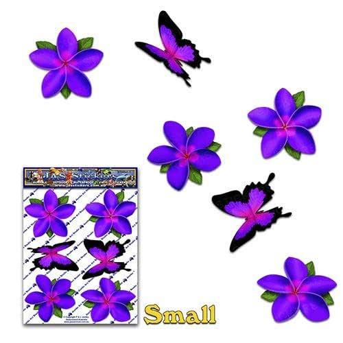 FLOWER 紫色 小号 Frangipani Plumeria BUTTERFLY ANIMAL 汽车贴纸套装 适用于笔记本电脑、货车、船只 - ST00041PL_SML - JAS 贴纸
