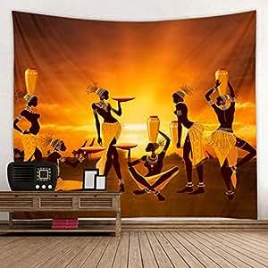 织物挂毯装饰墙壁艺术桌布床单野餐毯海滩挂毯彩色卧室厅宿舍客厅悬挂 African Tribal Woman 79x59 inches GT201806