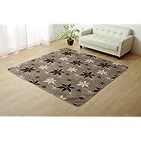 IKEHIKO 池彦和室 地毯 * 防臭 纯色 约 92× 185 厘米 (可用作电热毯套) リーフ柄 ブラウン 130×185cm(約1.5畳)ウォッシャブル