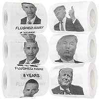 Fairly Odd Novelties FON-10234 厕纸唐纳德·特朗普和巴拉克奥马 新颖趣味厕纸质礼品,一套 6 卷