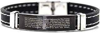 Xusamss 朋克摇滚不锈钢主祷文腕带硅胶手链,7.5 英寸(约 19.05 厘米)手腕