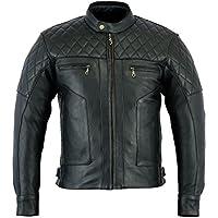Bikers Gear Australia Limited Baron Diamond 優質柔軟肛門皮革摩托車夾克 CE 可拆卸護甲 XL 黑色 LJ1106-XL