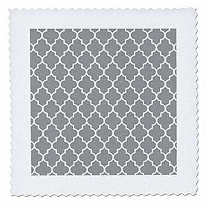 InspirationzStore patterns - Dark gray quatrefoil pattern - grey Moroccan tiles - modern stylish geometric clover lattice - Quilt Squares