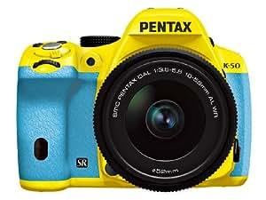 Pentax 宾得 K-50/DA L 18-55mm F3.5-5.6AL WR防水镜头单反套机(黄色机身 水蓝色手柄) 031