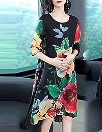 DVG 夏季女装新款A字裙宽松显瘦民族风印花圆领连衣裙中长款裙子女 DW8498