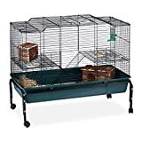 Relaxdays Hamster Cage 2 层带轮子,钢-PP,*,85 x 100 x 50