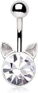 水晶猫小猫肚脐环 316L 14g 脐环