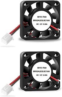 Aokin 3D 打印机 4010 散热风扇,40 x 40 x 10 毫米 DC 12V 无刷冷却风扇,带 2 针端子,适用于热端挤压机散热器 Creality Makerbot MK8 CPU 芯片 Arduino 2 件