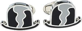 BURBERRY 男式黑色圆顶帽和白色珐琅银色袖扣,带礼盒