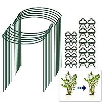 花园番茄笼,花番茄桩和支撑,户外植物笼和支架,带20个植物支撑夹,金属花园半圆形植物桩环,适用于番茄、玫瑰、藤