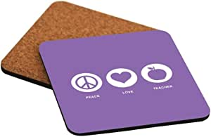 Rikki Knight Peace Love Teacher Violet Color Design Cork Backed Hard Square Beer Coasters, 4-Inch, Brown, 2-Pack