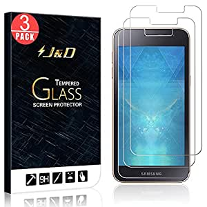 J&D 兼容 3 件装盖乐世 J2 Core 玻璃屏幕保护膜,[钢化玻璃] [无全覆盖] 高清透明弹道玻璃屏幕保护膜 适用于三星 Galaxy J2 Core 屏幕保护膜 3 包