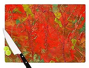 "Kess InHouse ""Crimson Forest"" Jeff Ferst 玻璃切割板,红色 绿色 红色 绿色 11 by 7.5"" JF1007ACB01"