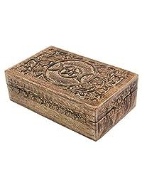 DharmaObjects 三月形手工雕刻首饰 Trinket 纪念品木质收纳盒 Triple Moon 大 BXTMMD