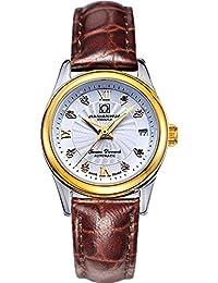 嘉年华手表 镶水钻女士全自动机械表 日历夜光防水精钢时尚女表 高档腕表 (皮带间金白面)