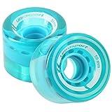 Ultrasport 滑板滑轮,由柔软材料制成,可完美附着在坏表面上,2 件透明蓝色