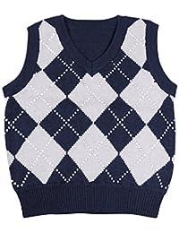Enimay 儿童学校制服针织毛衣 V 领背心菱形图案套头衫