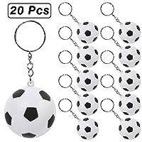 PROLOSO 20 件棒球足球高尔夫钥匙扣 男孩儿童泡沫运动钥匙圈篮球排球足球主题派对礼物 Football Keychians