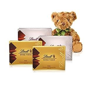 Lindt 瑞士莲 经典薄片巧克力(牛奶+黑)*2 500g+小熊(亚马逊自营商品, 由供应商配送)