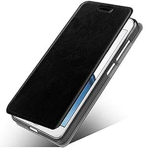 华硕 Zenfone 5Q ZC600KL 手机壳,华硕 Zenfone 5 Lite 手机壳,MAIKEZI Slim Folio/翻盖 PU 皮革带立式 TPU 缓冲背壳保护套适用于华硕 Zenfone 5 Lite ZC600KL Black Leather Case Z