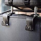 IPELY 汽车 SUV 后座靠枕挂钩储物钩(黑色 4 件套)