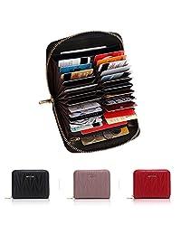 APHISON 女式 RFID 屏蔽 24 个插槽卡包皮革紧凑手风琴旅行钱包 7120