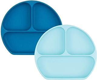 Bumkins 硅胶握盘,吸盘盘,分餐盘,婴幼儿餐盘,不含 BPA,可放入微波炉中清洗 Blue and Dk Blue QTY-2