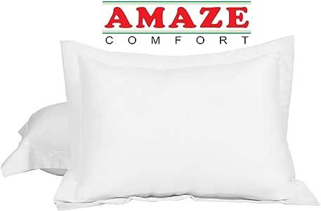"Amaze Comfort 欧式方形枕套 2 件套 银灰色 680 支 * 天然棉 2 件 欧式 26 x 26 枕套 靠垫套,枕套定制府绸 WHITE SOLID King 20""X 40"" + 2"""