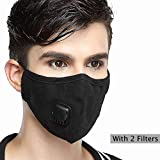 Pollution Mask *级 N99 防尘 + 2 过滤器可水洗棉质*器,带可调节耳塞/*/骑自行车/跑步/徒步/油漆/清洁/构造