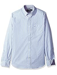 Nautica 男式长袖竖条纹纽扣衬衫