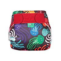 TotsBots 可重复使用的游泳尿布,浮动,尺寸 1,黑色带彩色水母