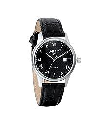 Avaner 男士时尚休闲设计模拟石英日历日期显示腕表带黑色皮革表带