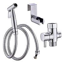 马桶净身盆喷雾器套装,拉丝镍,浴室手持净身盆,易于安装,适用于浴室,不锈钢丝拉丝 Shattaf 马桶套装 - Shcasa