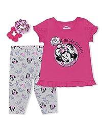 Disney 迪士尼 米妮 女童打底裤 3 件套 T 恤,Scrunchie