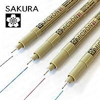 Sakura Pigma Micron - 颜料细线笔 - 4 件装 - 0.1 毫米 - 黑色、蓝色、红色和绿色