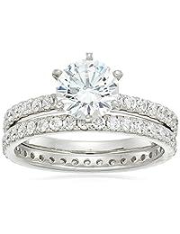 镀铂纯银施华洛世奇锆石戒指套装