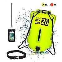 TACTIK 游泳浮球泡适用于开放水域游泳者和铁人三项运动员 - *游泳牵引浮带可调节腰带适用于开放水域 - 干袋