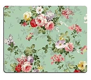 鼠标垫朋克尾亚橡胶背衬定制图片,250X200X2-mm - 复古花卉图案ntfdfh 0,Black/White/3D