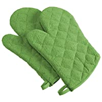 DII 100% Cotton, Machine Washable, Everyday Kitchen Basic Terry Ovenmitt Set of 2, Aqua Green Apple