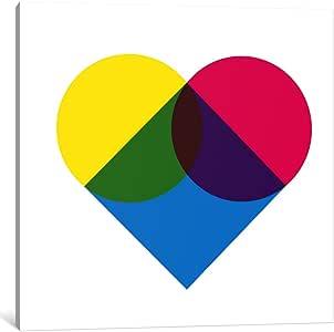 "iCanvasART 1 Piece Modern Art- Fluorescent Heart Diagram Canvas Print by Icanvas, 18 by 18""/1.5"" Deep"