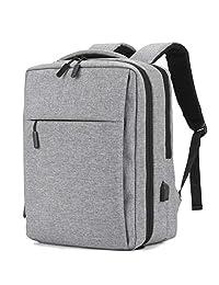YOUPECK 防盗笔记本电脑背包商务包带 USB 充电端口,学校旅行背包,轻质学生工作男性和女性适合 15.6 英寸以下笔记本电脑,黑色 灰色