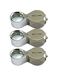 3 件迷你 30X 21mm 珠宝珠宝珠宝放大镜银/盒
